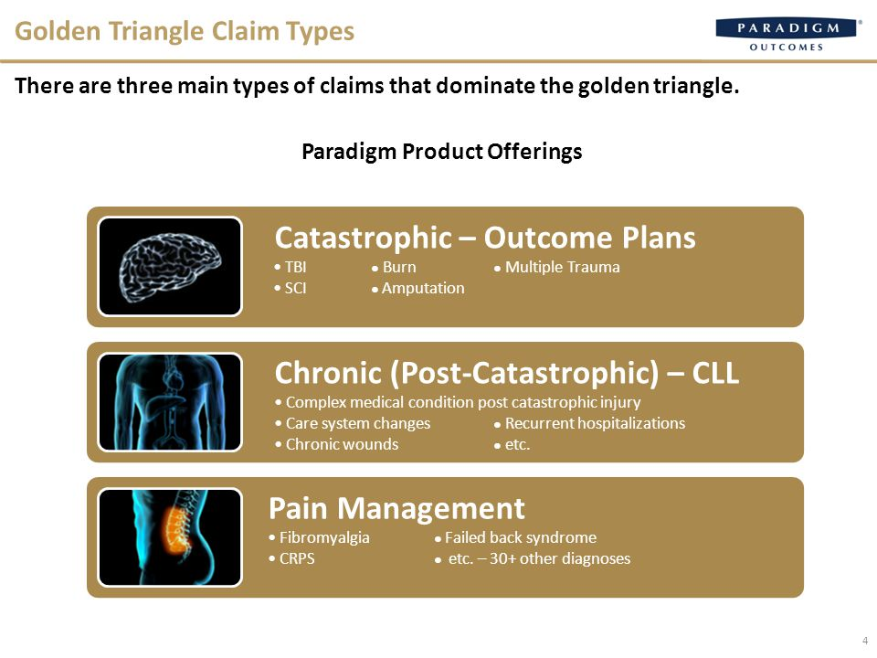 4 Golden Triangle Claim Types There are three main types of claims that dominate the golden triangle.