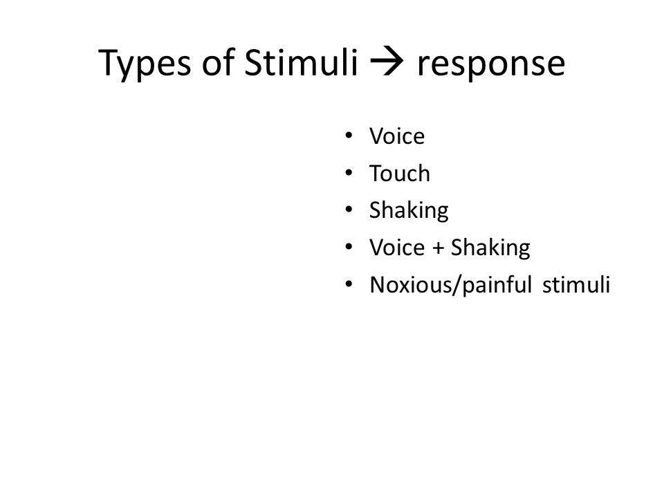 Types of Stimuli  response Voice Touch Shaking Voice + Shaking Noxious/painful stimuli