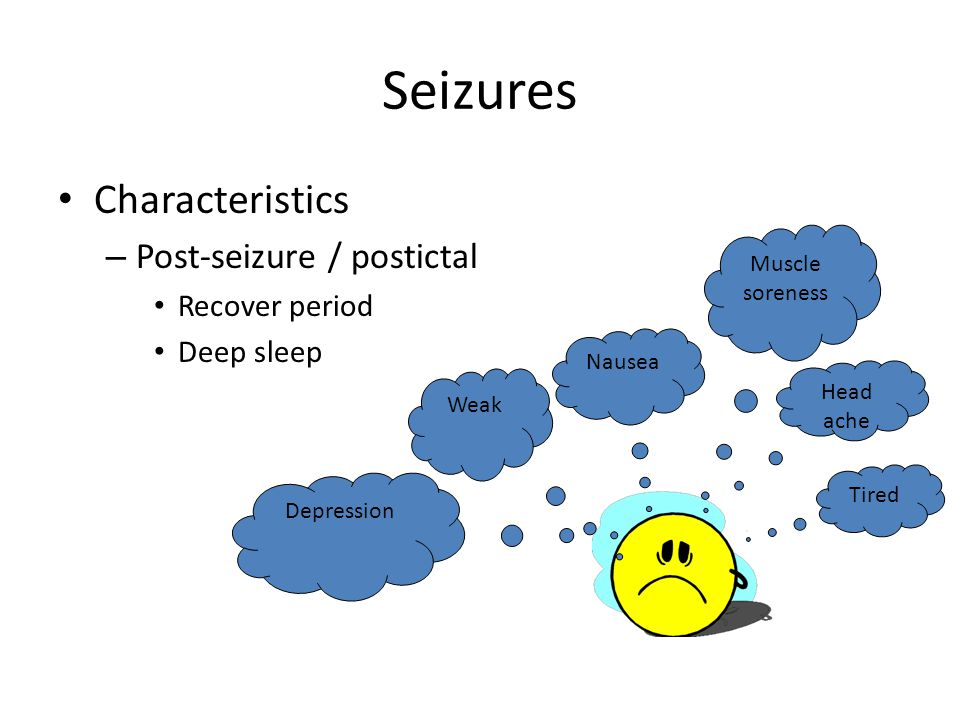 Seizures Characteristics – Post-seizure / postictal Recover period Deep sleep Head ache Weak Nausea Muscle soreness Depression Tired