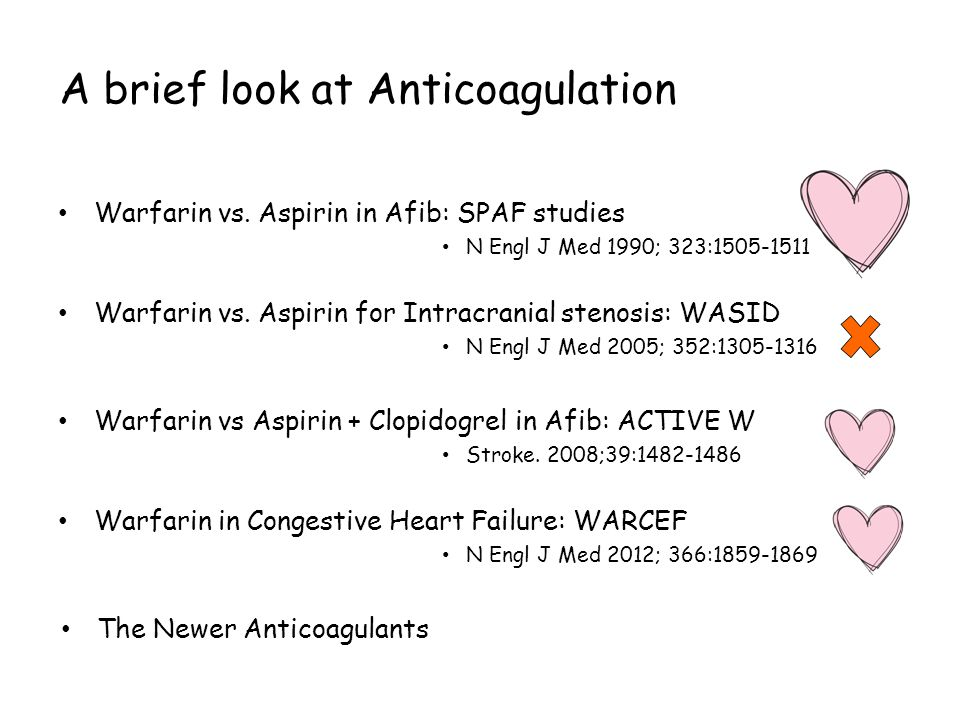 A brief look at Anticoagulation Warfarin vs.