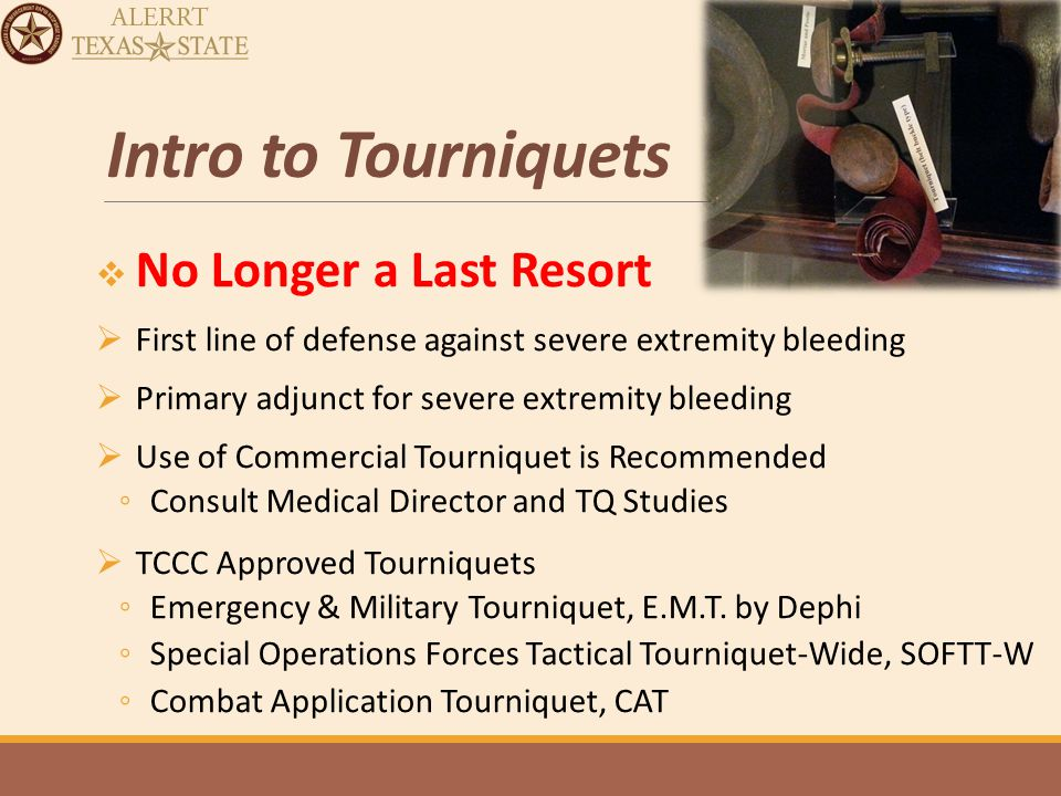 Direct Threat Care Interventions DTC is primarily aimed at stopping the number 1 cause of Potentially Survivable Deaths, life threatening hemorrhage/bleeding with: Tourniquets DTC also addresses the second leading cause of PS deaths, airway obstruction with: Recovery Position