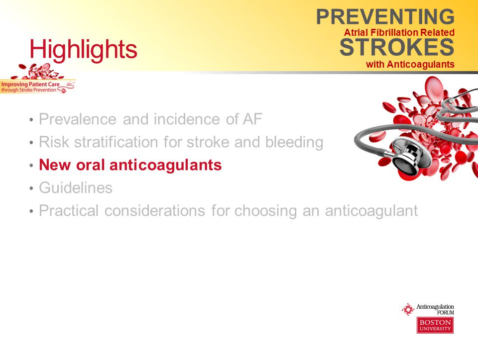 Prevalence and incidence of AF Risk stratification for stroke and bleeding New oral anticoagulants Guidelines Practical considerations for choosing an