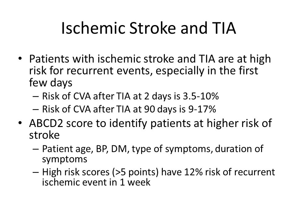 CHANCE: Take-Home Message  Dual antiplatelet therapy for 21 days with onset within 12 hrs of TIA or minor ischemic stroke reduces chance of recurrent ischemia without change in bleeding risk