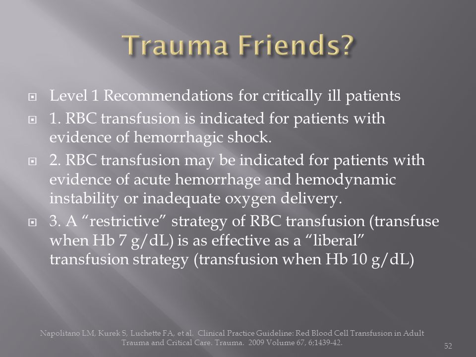  Level 1 Recommendations for critically ill patients  1. RBC transfusion is indicated for patients with evidence of hemorrhagic shock.  2. RBC tran