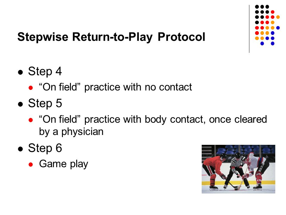Stepwise Return-to-Play Protocol Step 4 On field practice with no contact Step 5 On field practice with body contact, once cleared by a physician Step 6 Game play