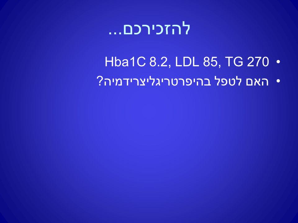 להזכירכם... Hba1C 8.2, LDL 85, TG 270 האם לטפל בהיפרטריגליצרידמיה