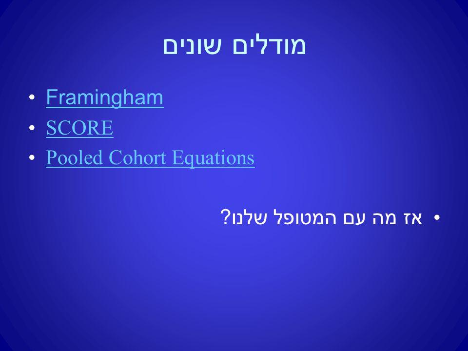 מודלים שונים Framingham SCORE Pooled Cohort Equations אז מה עם המטופל שלנו ?