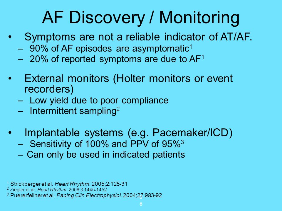 AF Discovery / Monitoring Symptoms are not a reliable indicator of AT/AF. –90% of AF episodes are asymptomatic 1 –20% of reported symptoms are due to