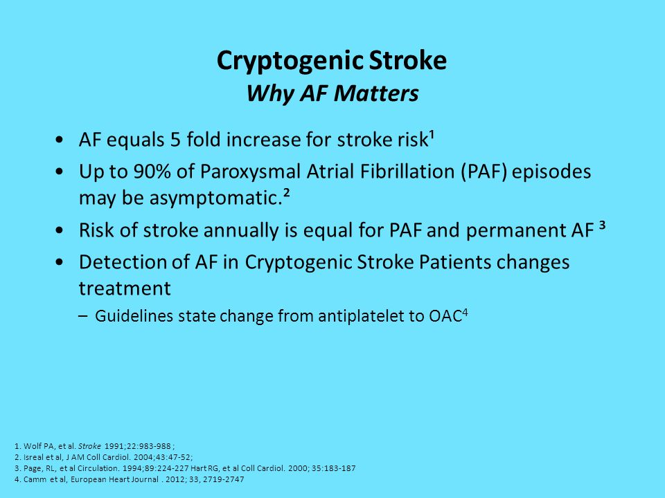 Cryptogenic Stroke Why AF Matters AF equals 5 fold increase for stroke risk¹ Up to 90% of Paroxysmal Atrial Fibrillation (PAF) episodes may be asympto