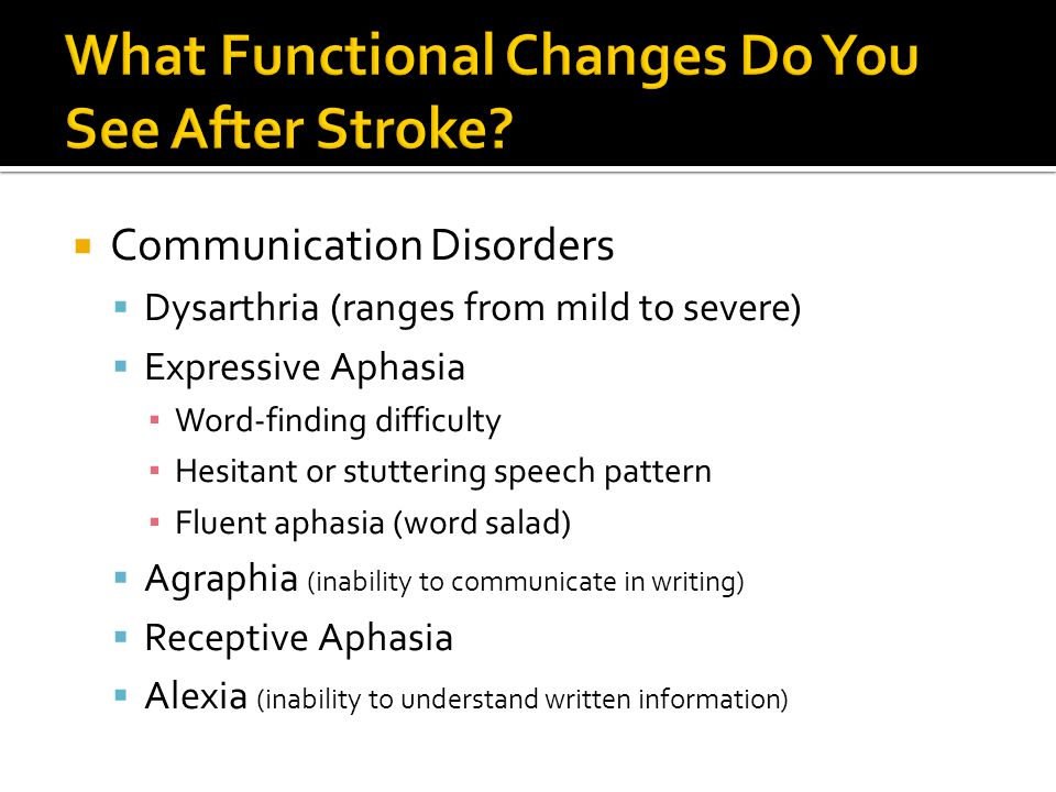  Communication Disorders  Dysarthria (ranges from mild to severe)  Expressive Aphasia ▪ Word-finding difficulty ▪ Hesitant or stuttering speech pattern ▪ Fluent aphasia (word salad)  Agraphia (inability to communicate in writing)  Receptive Aphasia  Alexia (inability to understand written information)