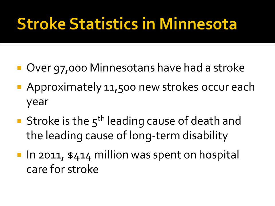  Over 97,000 Minnesotans have had a stroke  Approximately 11,500 new strokes occur each year  Stroke is the 5 th leading cause of death and the leading cause of long-term disability  In 2011, $414 million was spent on hospital care for stroke