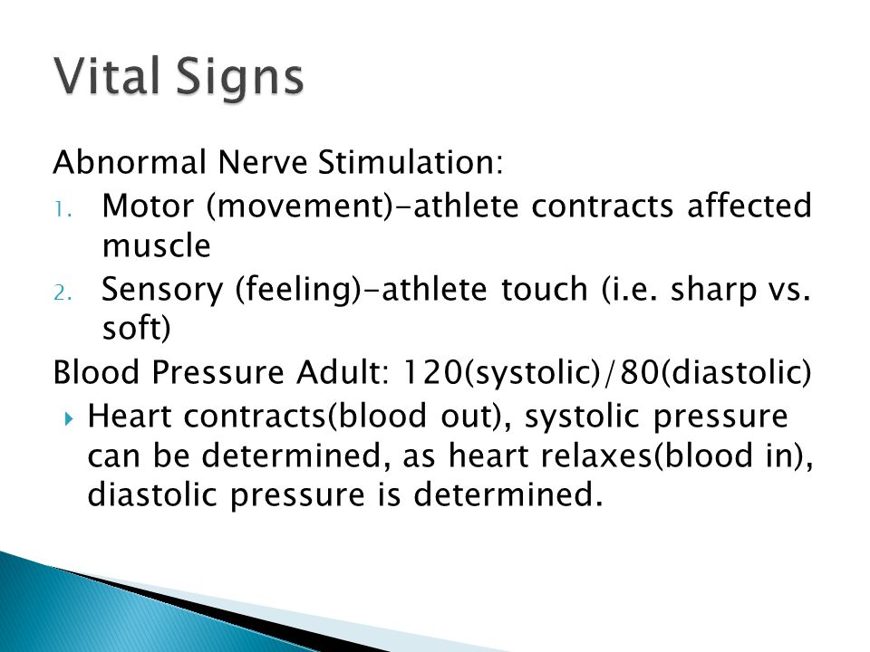 Abnormal Nerve Stimulation: 1. Motor (movement)-athlete contracts affected muscle 2.