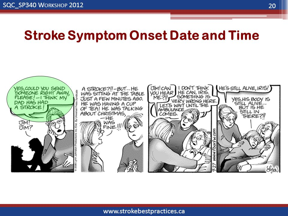 SQC_SP340 W ORKSHOP 2012 www.strokebestpractices.ca Stroke Symptom Onset Date and Time 20