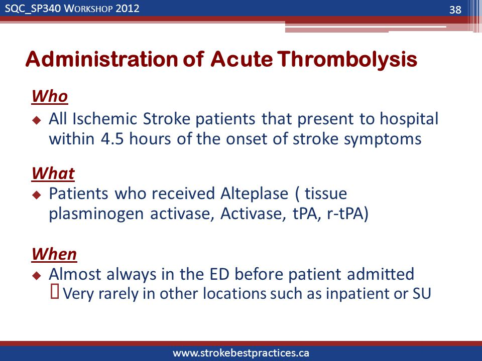 SQC_SP340 W ORKSHOP 2012 www.strokebestpractices.ca Administration of Acute Thrombolysis Who  All Ischemic Stroke patients that present to hospital within 4.5 hours of the onset of stroke symptoms What  Patients who received Alteplase ( tissue plasminogen activase, Activase, tPA, r-tPA) When  Almost always in the ED before patient admitted  Very rarely in other locations such as inpatient or SU 38