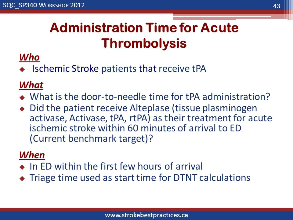 SQC_SP340 W ORKSHOP 2012 www.strokebestpractices.ca Administration Time for Acute Thrombolysis Who  Ischemic Stroke patients that receive tPA What  What is the door-to-needle time for tPA administration.