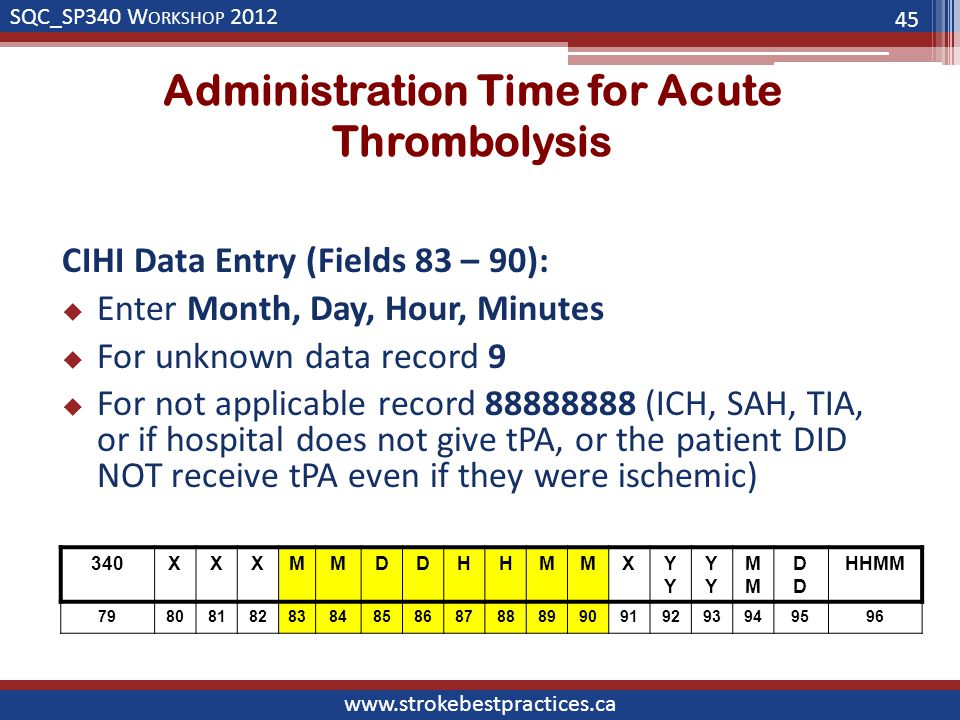 SQC_SP340 W ORKSHOP 2012 www.strokebestpractices.ca Administration Time for Acute Thrombolysis CIHI Data Entry (Fields 83 – 90):  Enter Month, Day, Hour, Minutes  For unknown data record 9  For not applicable record 88888888 (ICH, SAH, TIA, or if hospital does not give tPA, or the patient DID NOT receive tPA even if they were ischemic) 45 340XXXMMDDHHMMXYYM DDDD HHMM 798081828384858687888990919293949596
