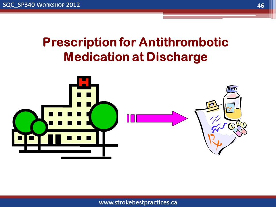 SQC_SP340 W ORKSHOP 2012 www.strokebestpractices.ca Prescription for Antithrombotic Medication at Discharge 46
