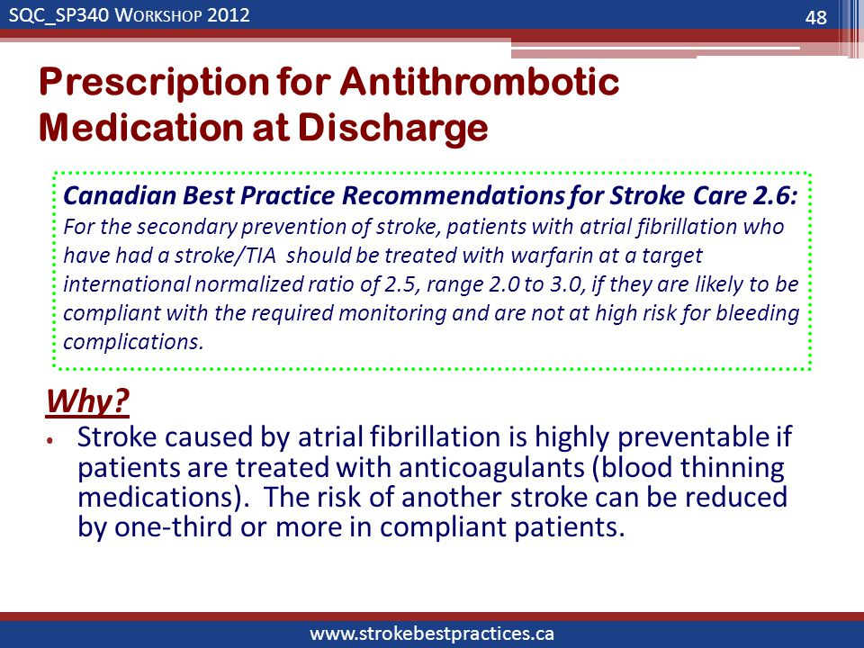SQC_SP340 W ORKSHOP 2012 www.strokebestpractices.ca Prescription for Antithrombotic Medication at Discharge Why.