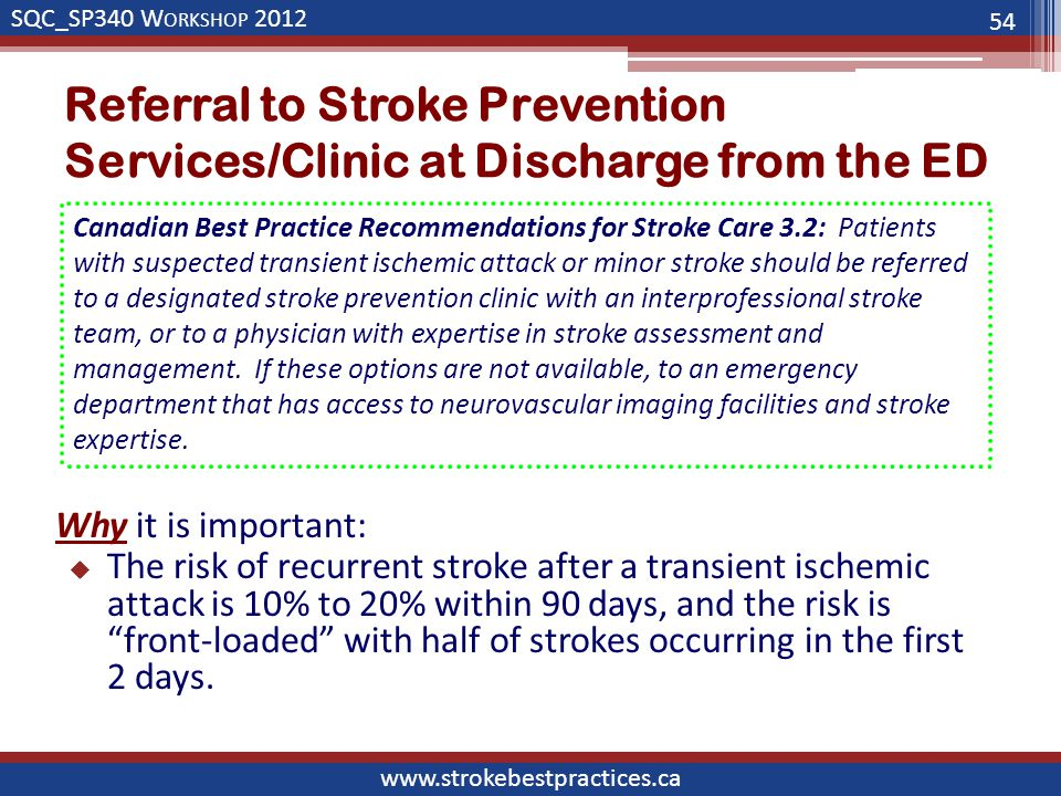 SQC_SP340 W ORKSHOP 2012 www.strokebestpractices.ca Referral to Stroke Prevention Services/Clinic at Discharge from the ED Why it is important:  The risk of recurrent stroke after a transient ischemic attack is 10% to 20% within 90 days, and the risk is front-loaded with half of strokes occurring in the first 2 days.