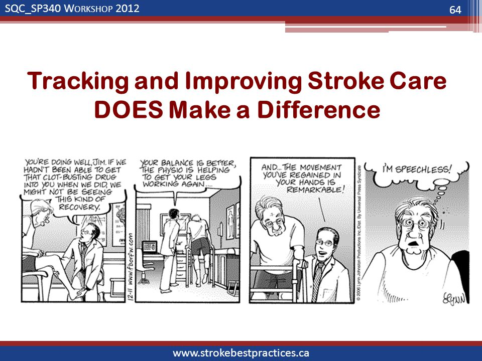 SQC_SP340 W ORKSHOP 2012 www.strokebestpractices.ca Tracking and Improving Stroke Care DOES Make a Difference 64