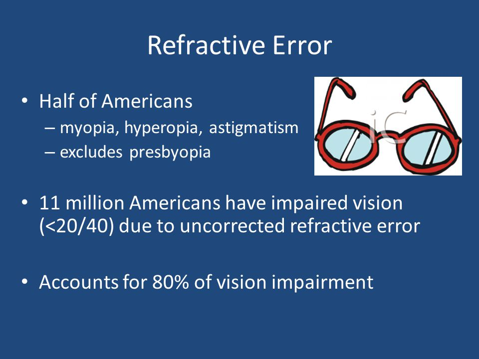 Refractive Error Half of Americans – myopia, hyperopia, astigmatism – excludes presbyopia 11 million Americans have impaired vision (<20/40) due to un