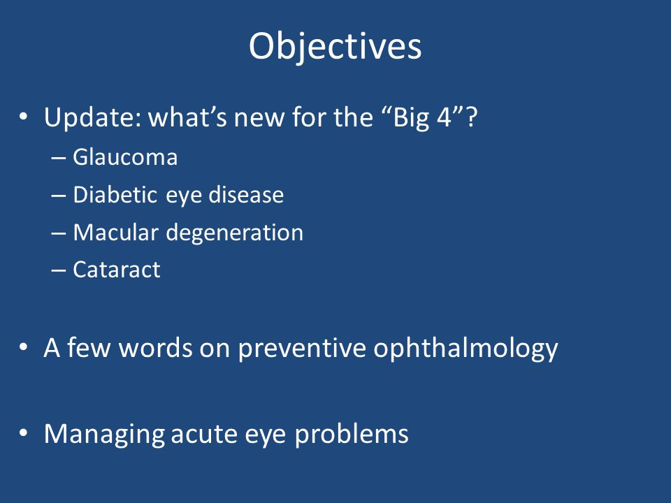 Conjunctivitis Majority: viral Purulent discharge – Bacterial – Topical ABX (NOT gent) Other – allergic – irritant – dry eye – blepharitis