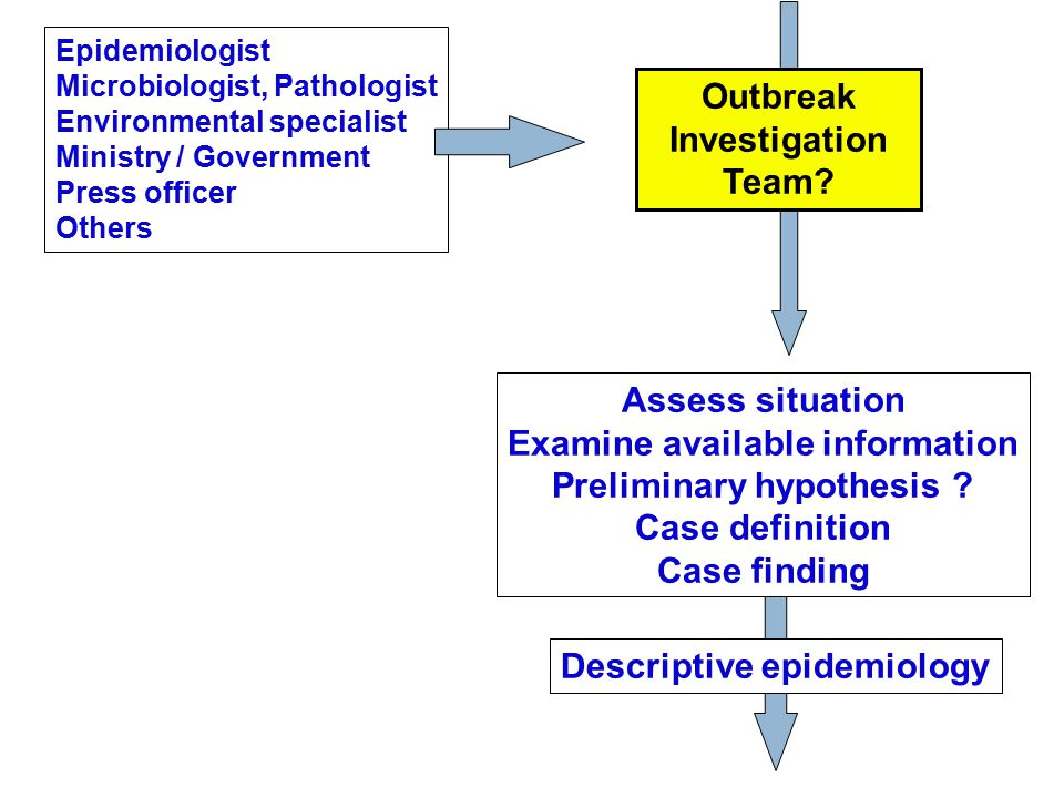 Outbreak Investigation Team? Epidemiologist Microbiologist, Pathologist Environmental specialist Ministry / Government Press officer Others Descriptiv