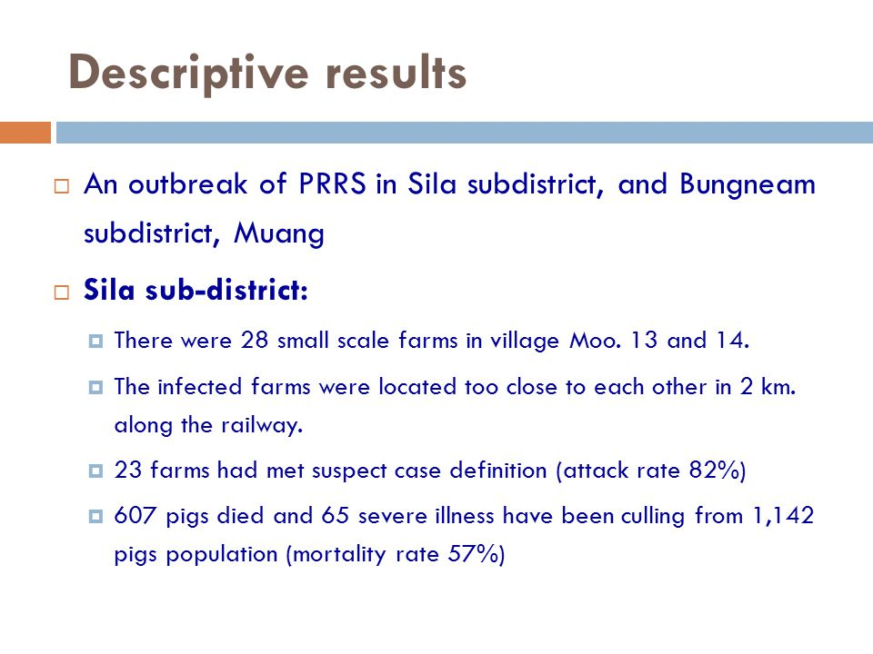 Descriptive results  An outbreak of PRRS in Sila subdistrict, and Bungneam subdistrict, Muang  Sila sub-district:  There were 28 small scale farms