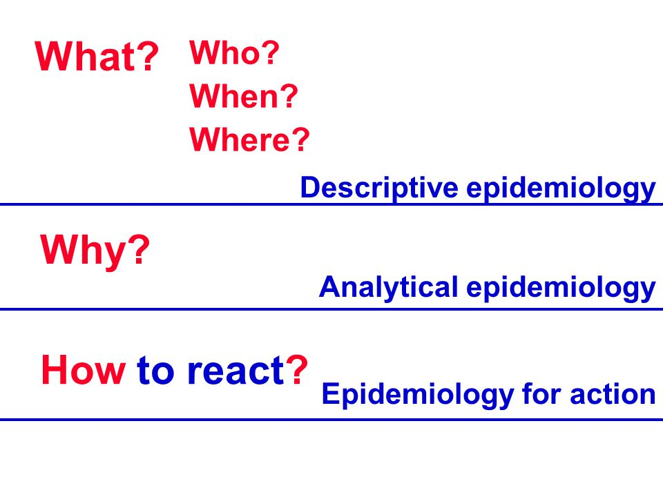 What? Who? When? Where? Why? How to react? Descriptive epidemiology Analytical epidemiology Epidemiology for action
