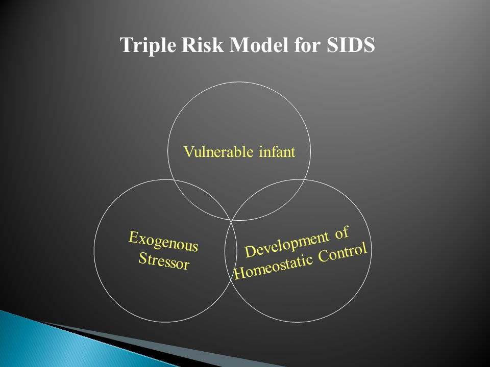 Exogenous Stressor Vulnerable infant Development of Homeostatic Control Triple Risk Model for SIDS