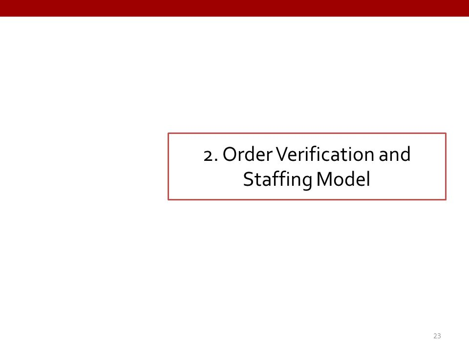 2. Order Verification and Staffing Model 23