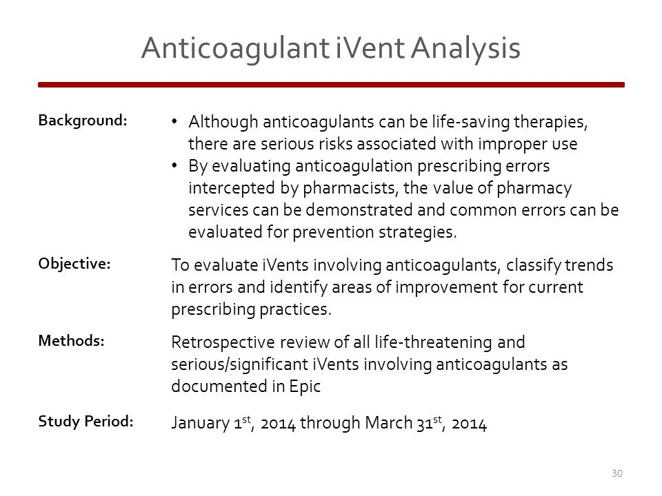 Anticoagulant iVent Analysis Background: Although anticoagulants can be life-saving therapies, there are serious risks associated with improper use By evaluating anticoagulation prescribing errors intercepted by pharmacists, the value of pharmacy services can be demonstrated and common errors can be evaluated for prevention strategies.