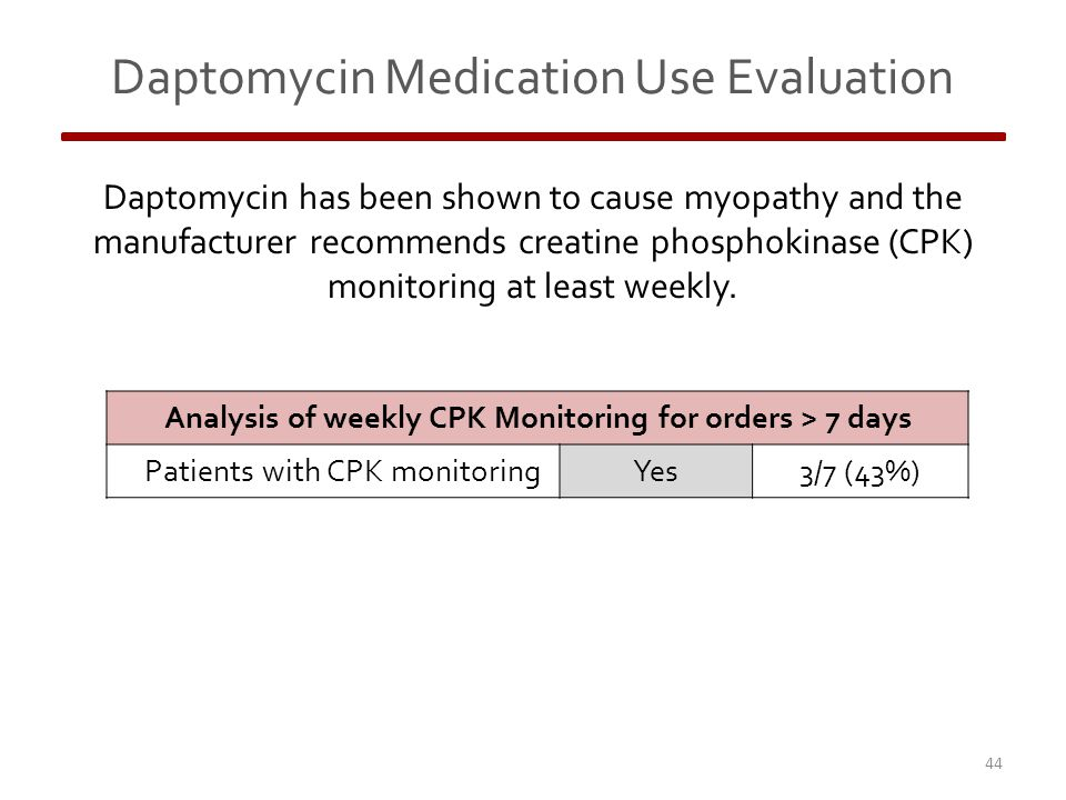 Daptomycin Medication Use Evaluation 44 Daptomycin has been shown to cause myopathy and the manufacturer recommends creatine phosphokinase (CPK) monitoring at least weekly.