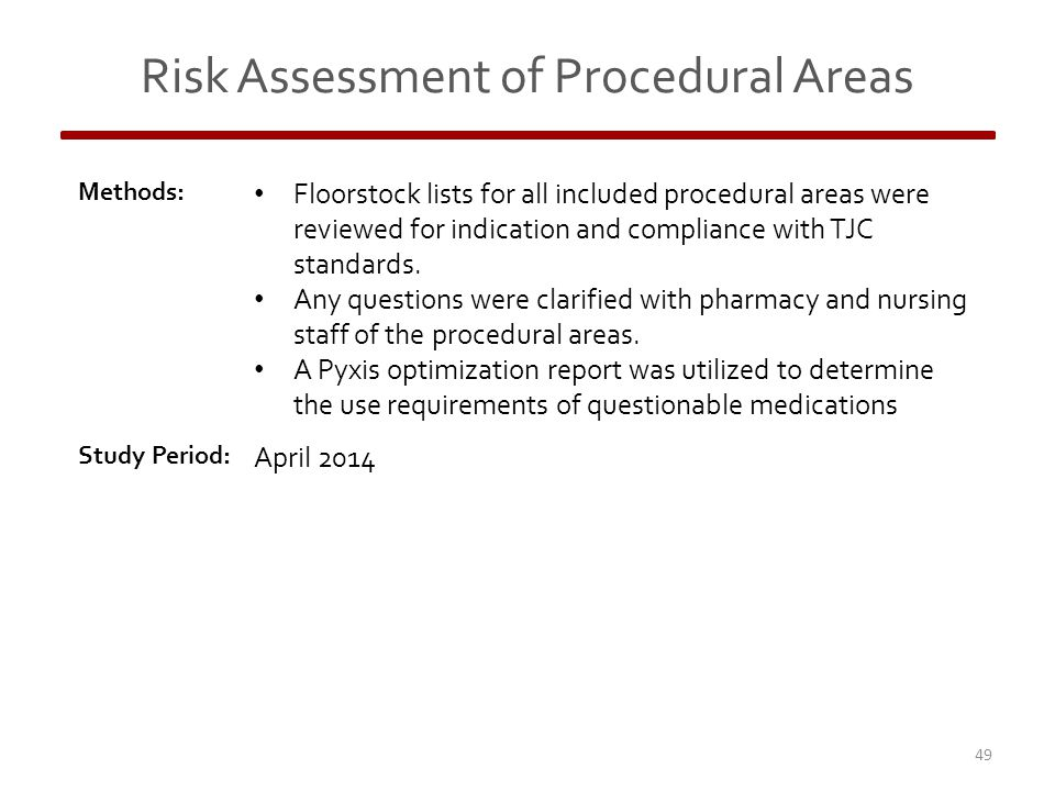 Risk Assessment of Procedural Areas Methods: Floorstock lists for all included procedural areas were reviewed for indication and compliance with TJC standards.
