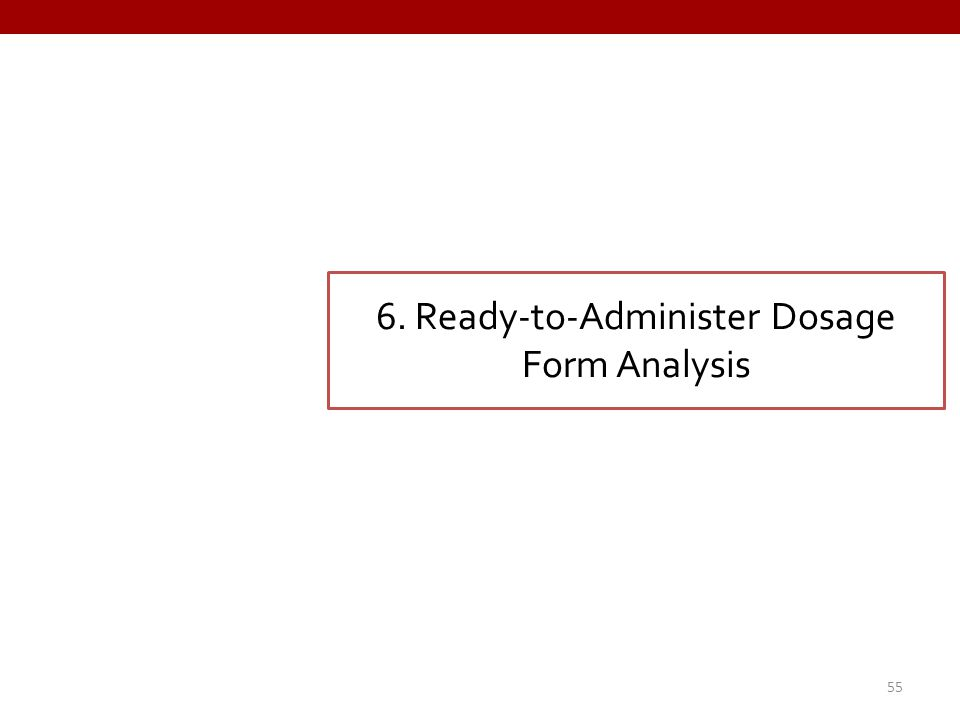 6. Ready-to-Administer Dosage Form Analysis 55