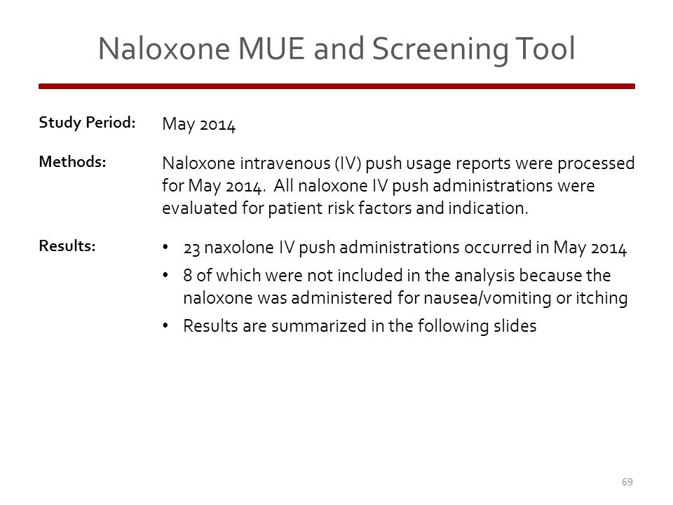 Naloxone MUE and Screening Tool Study Period: May 2014 Methods: Naloxone intravenous (IV) push usage reports were processed for May 2014.