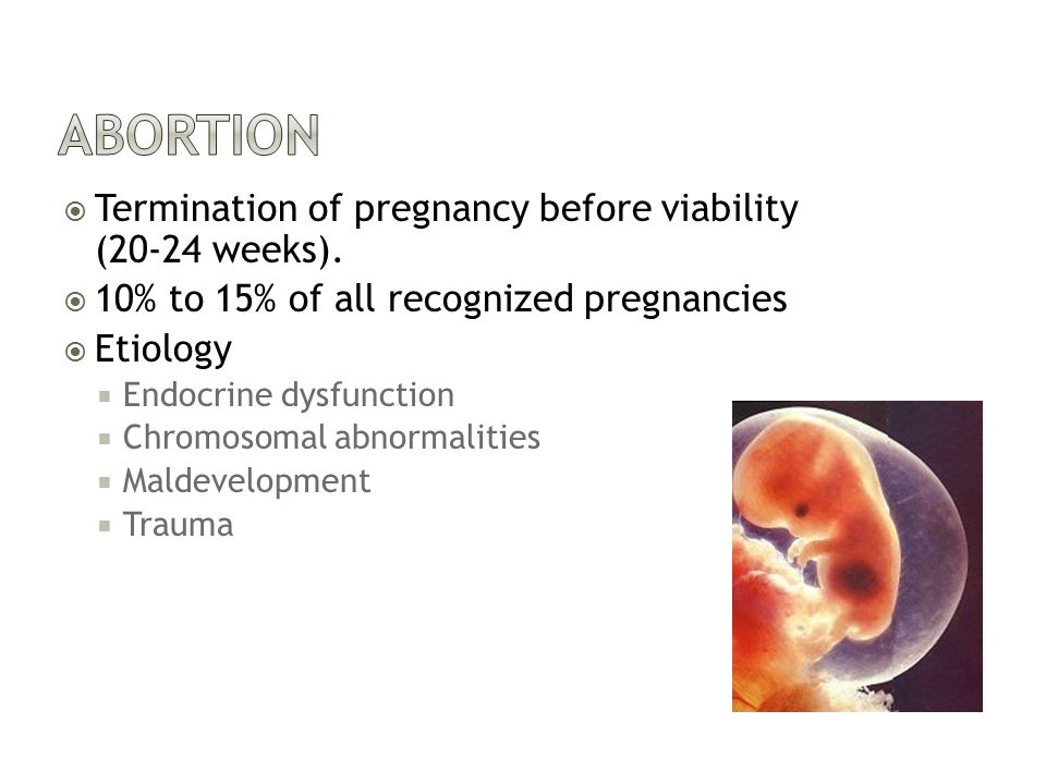  Termination of pregnancy before viability (20-24 weeks).