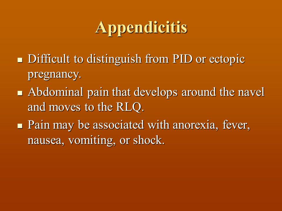 Appendicitis Difficult to distinguish from PID or ectopic pregnancy. Difficult to distinguish from PID or ectopic pregnancy. Abdominal pain that devel