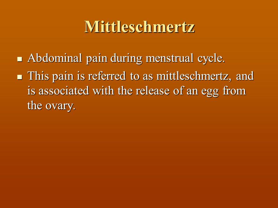 Mittleschmertz Abdominal pain during menstrual cycle.