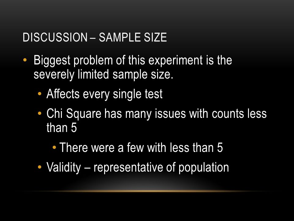 DISCUSSION – SAMPLE SIZE Biggest problem of this experiment is the severely limited sample size.