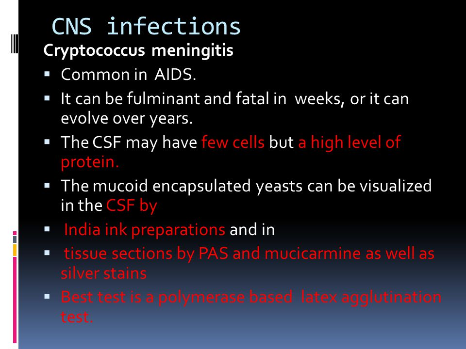 CNS infections Cryptococcus meningitis  Common in AIDS.  It can be fulminant and fatal in weeks, or it can evolve over years.  The CSF may have few