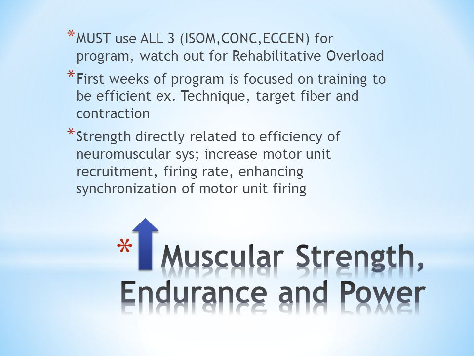 * MUST use ALL 3 (ISOM,CONC,ECCEN) for program, watch out for Rehabilitative Overload * First weeks of program is focused on training to be efficient ex.