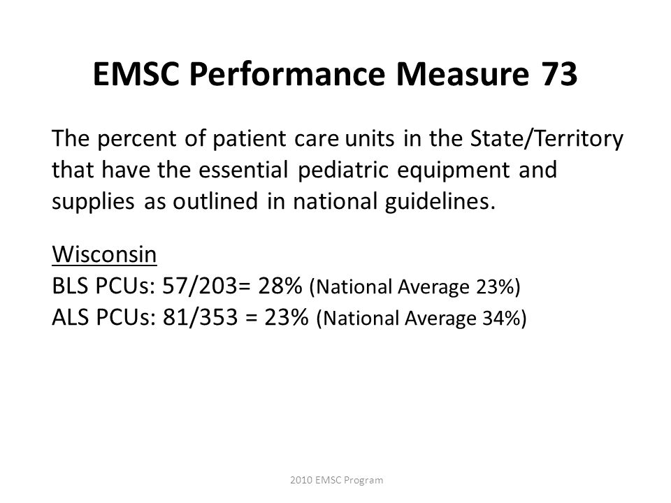 The percent of patient care units in the State/Territory that have the essential pediatric equipment and supplies as outlined in national guidelines.