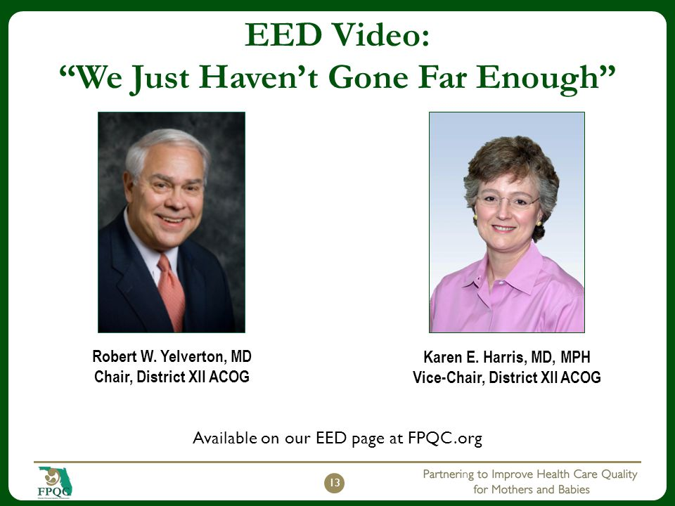 "EED Video: ""We Just Haven't Gone Far Enough"" 13 Robert W. Yelverton, MD Chair, District XII ACOG Karen E. Harris, MD, MPH Vice-Chair, District XII ACO"