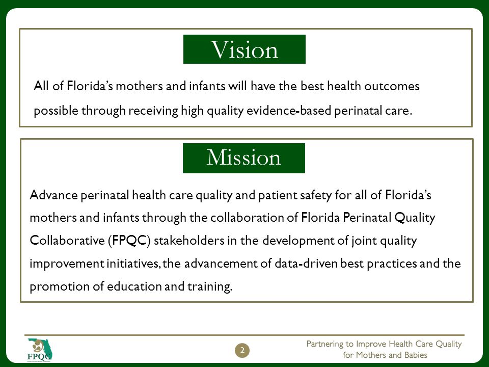 2 Vision All of Florida's mothers and infants will have the best health outcomes possible through receiving high quality evidence-based perinatal care.