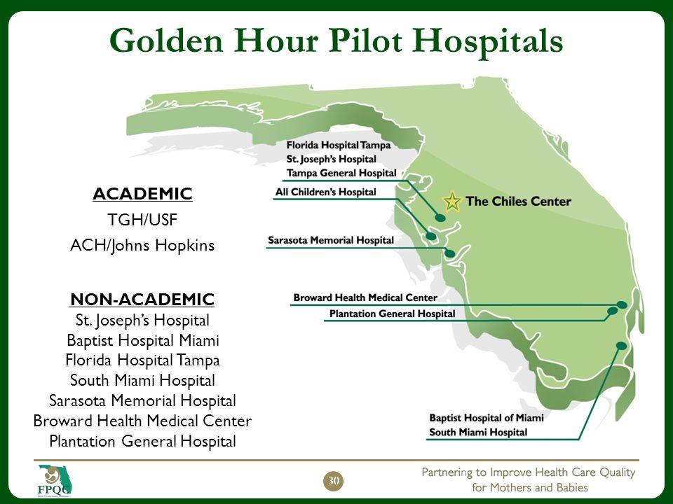 Golden Hour Pilot Hospitals ACADEMIC TGH/USF ACH/Johns Hopkins 30 NON-ACADEMIC St. Joseph's Hospital Baptist Hospital Miami Florida Hospital Tampa Sou