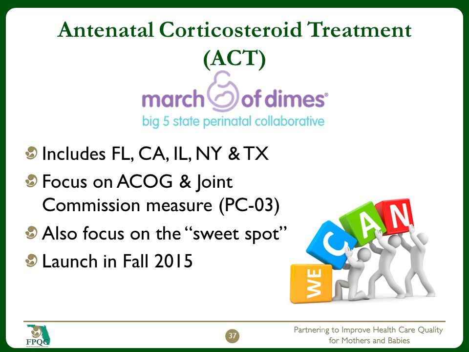 Antenatal Corticosteroid Treatment (ACT) Includes FL, CA, IL, NY & TX Focus on ACOG & Joint Commission measure (PC-03) Also focus on the sweet spot Launch in Fall 2015 37
