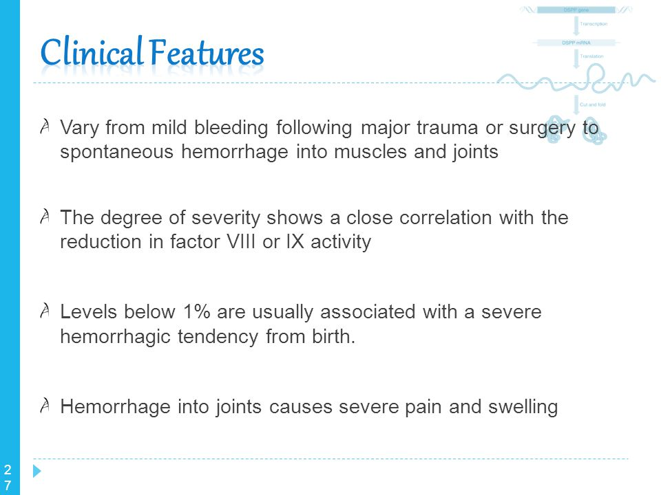 27 Vary from mild bleeding following major trauma or surgery to spontaneous hemorrhage into muscles and joints The degree of severity shows a close co