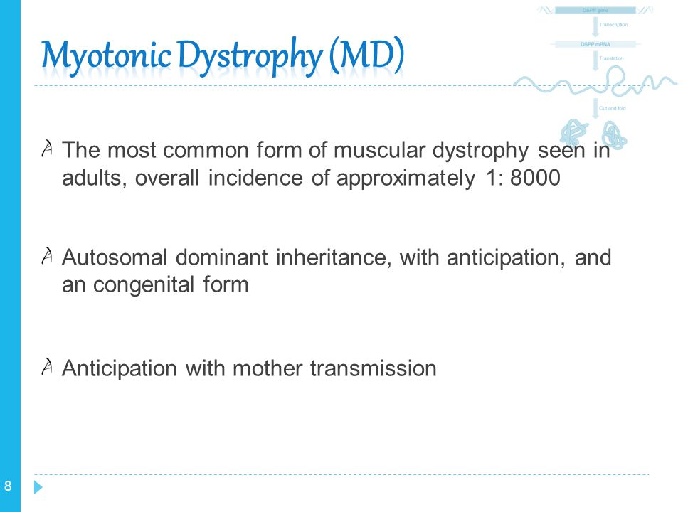8 The most common form of muscular dystrophy seen in adults, overall incidence of approximately 1: 8000 Autosomal dominant inheritance, with anticipat
