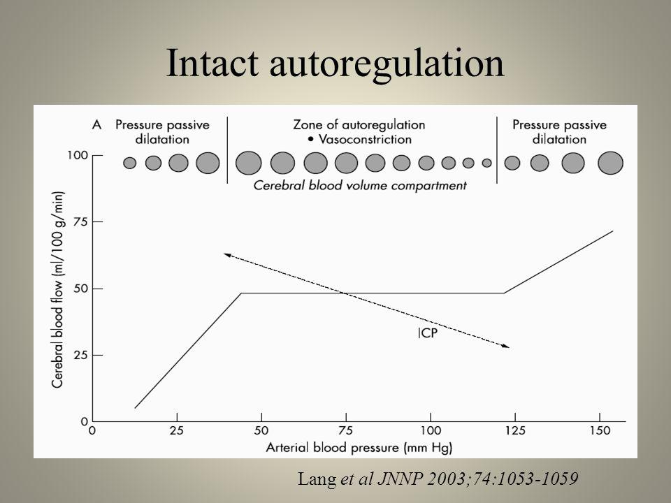 Intact autoregulation Lang et al JNNP 2003;74:1053-1059